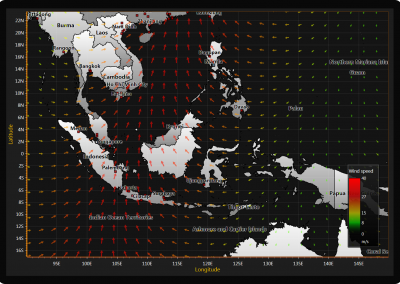 Wind data over map chart example for WPF and WinForms