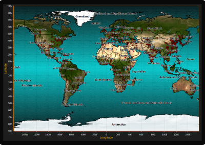 World map chart example for WPF and WinForms