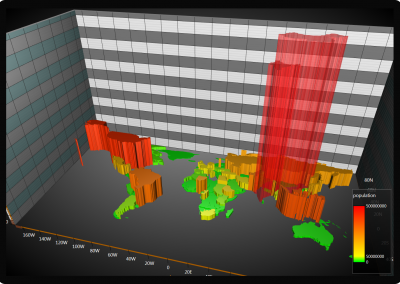 WPF 3D map chart world population example