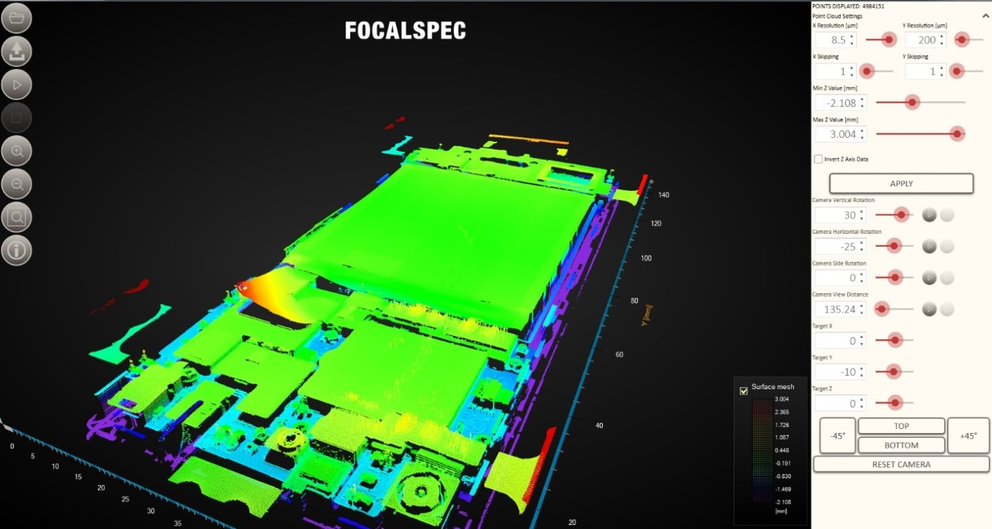 User interface from the FocalSpec line confocal scanner