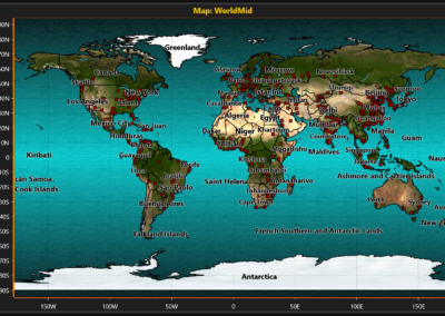 Image of world map chart example for WPF and WinForms